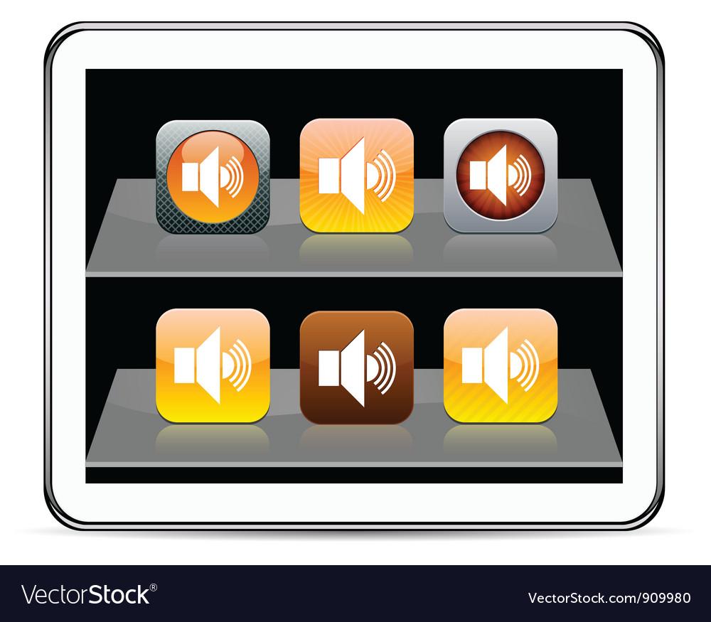 Sound orange app icons vector