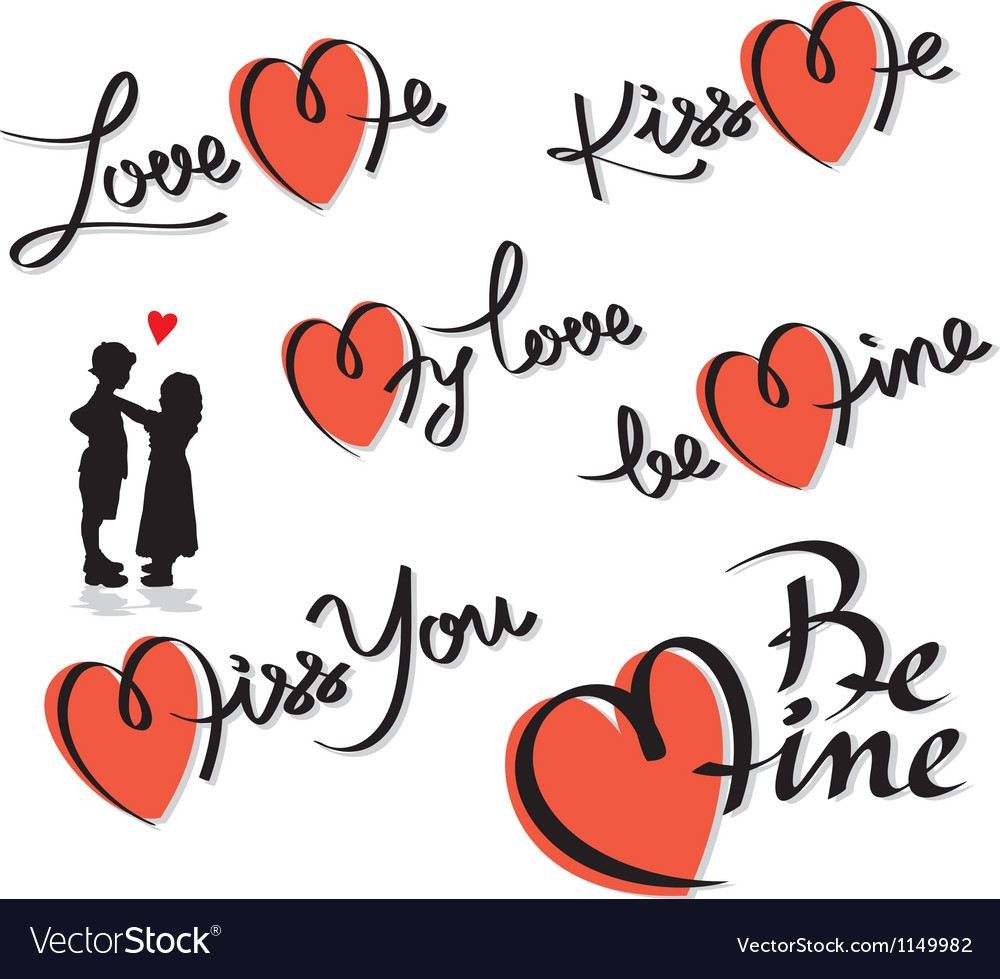 Valentine hand lettering set vector