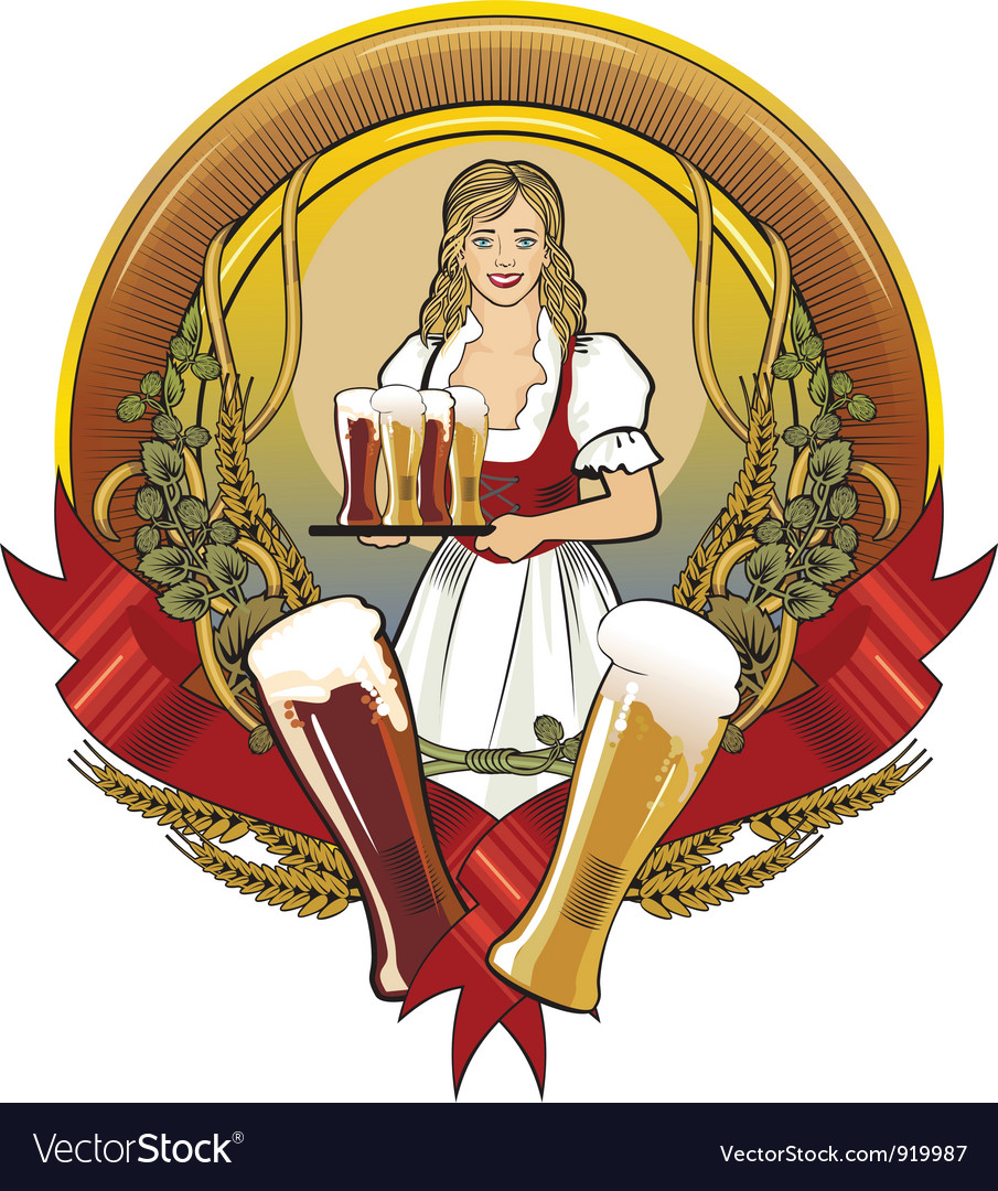 Girl beer waitress radial vector