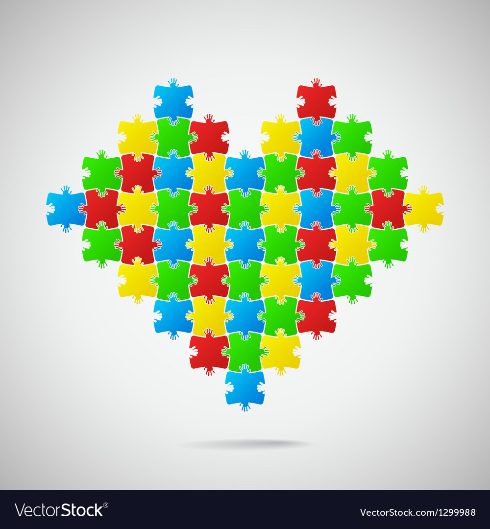 Heart from puzzle pieces vector