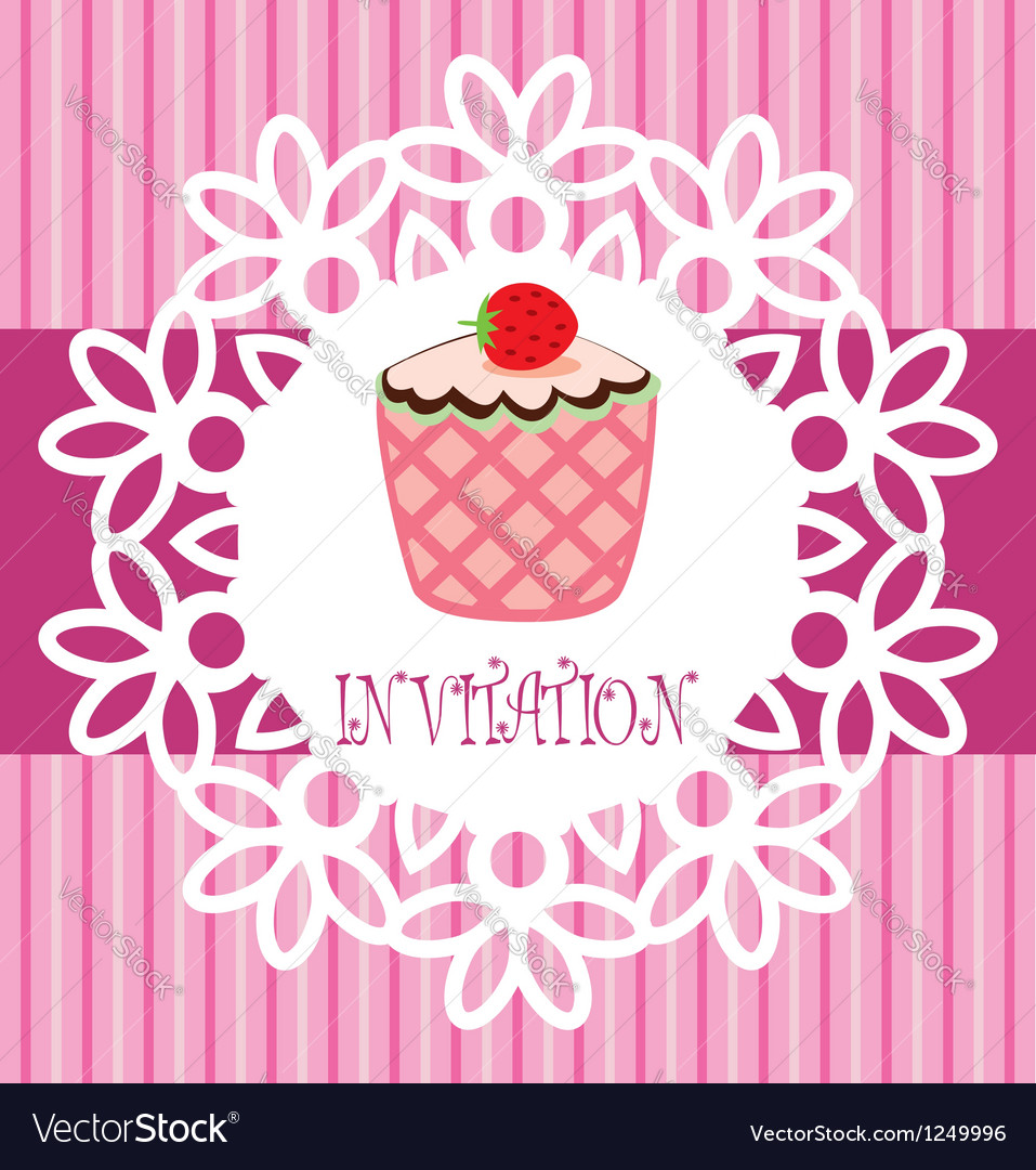 Card with cupcake vector