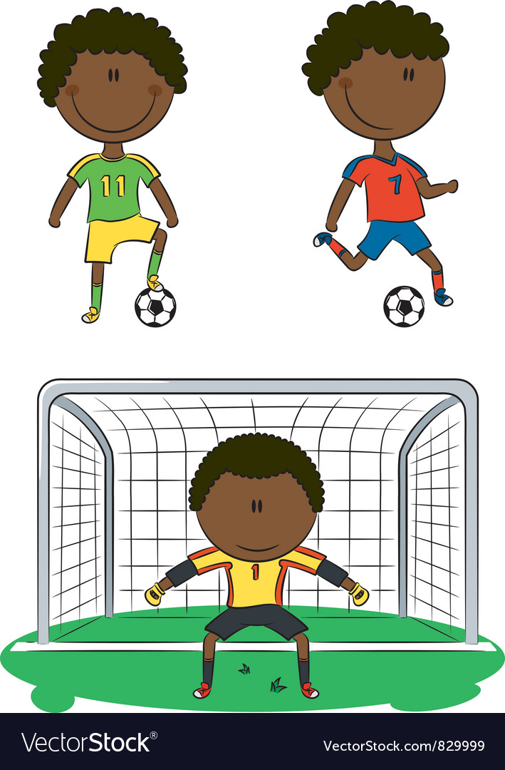 African-american soccer players vector