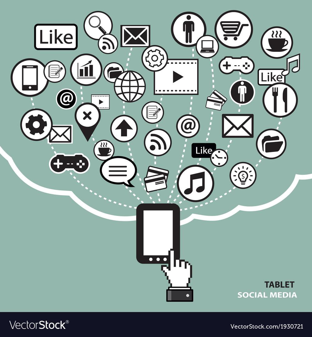 Tablet-social-media-concept-vector