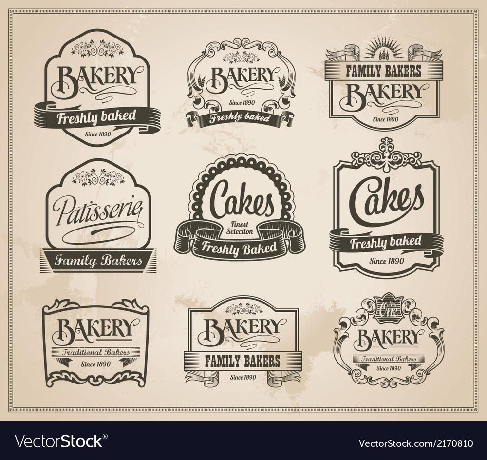 Vintage-retro-bakery-label-set-vector