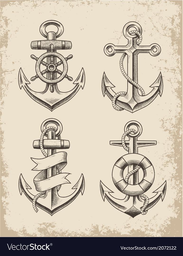 Hand-drawn-anchor-set-vector