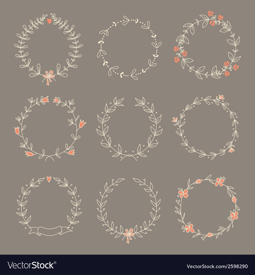 Set-of-9-hand-drawn-wreaths-eps-10-vector