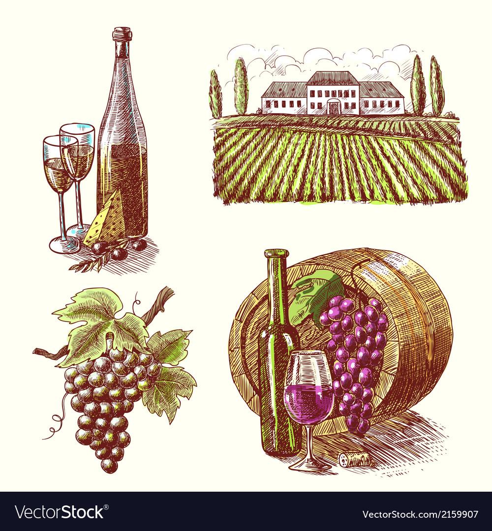 Wine-sketch-decorative-set-vector