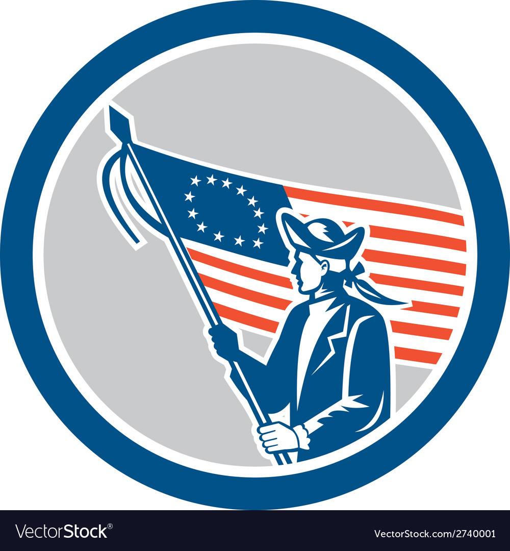 American patriot soldier flag circle retro vector