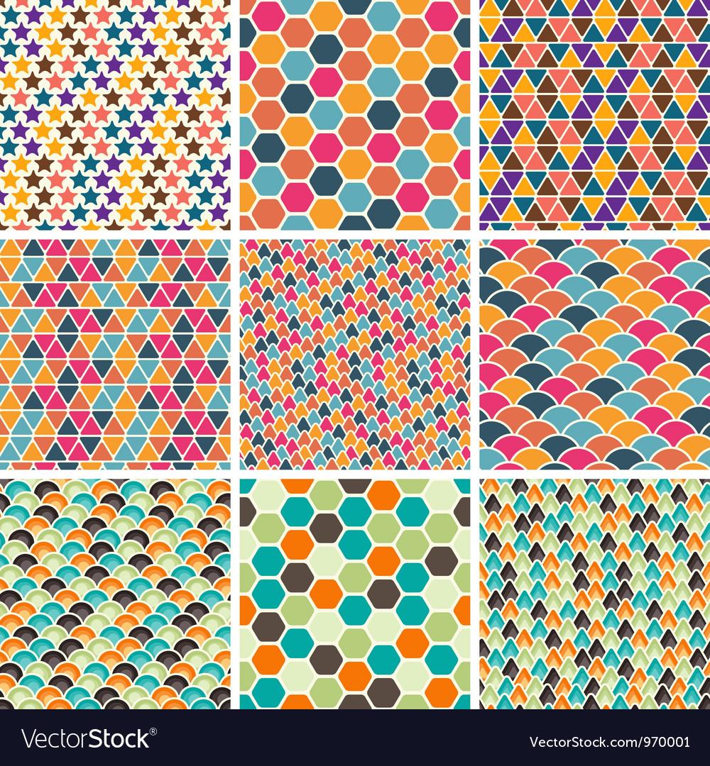 Retro geometric patterns vector