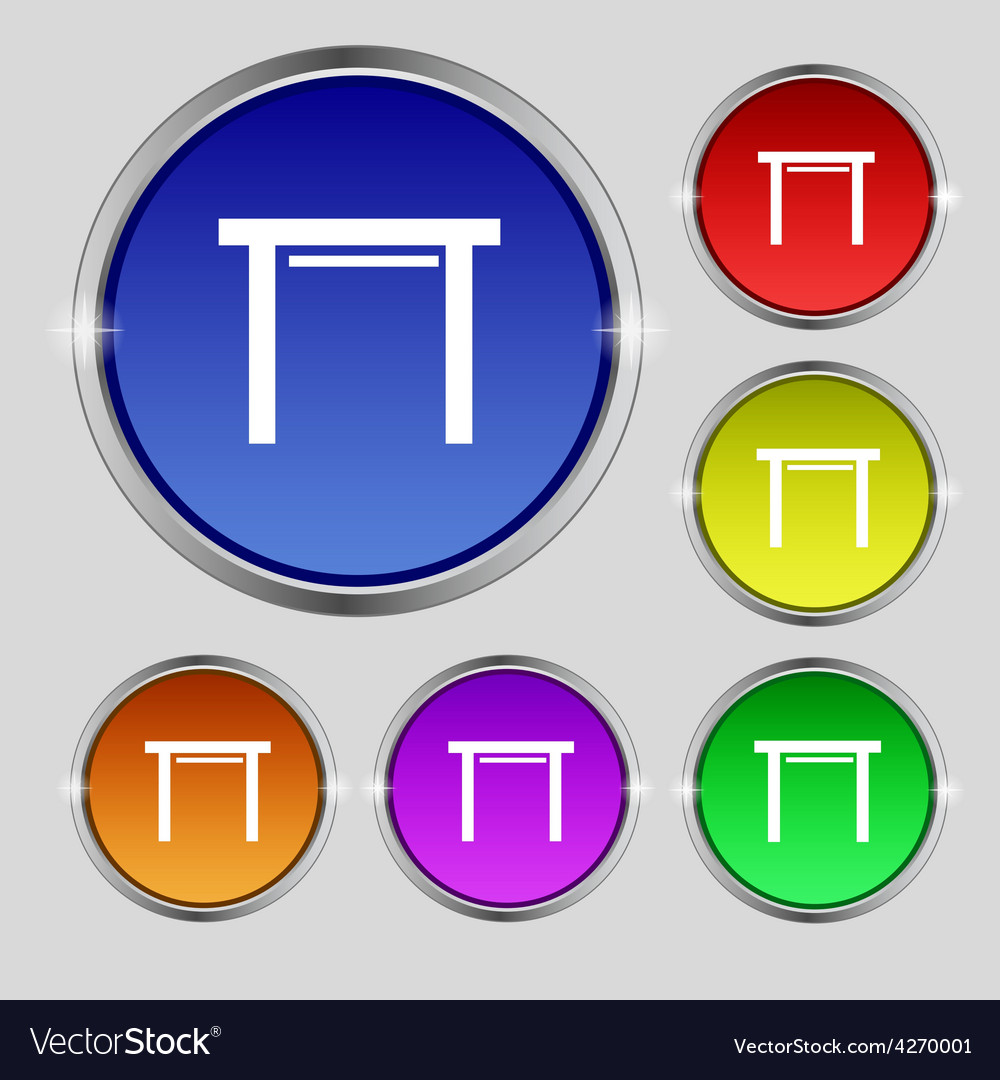 Stool seat icon sign round symbol on bright vector