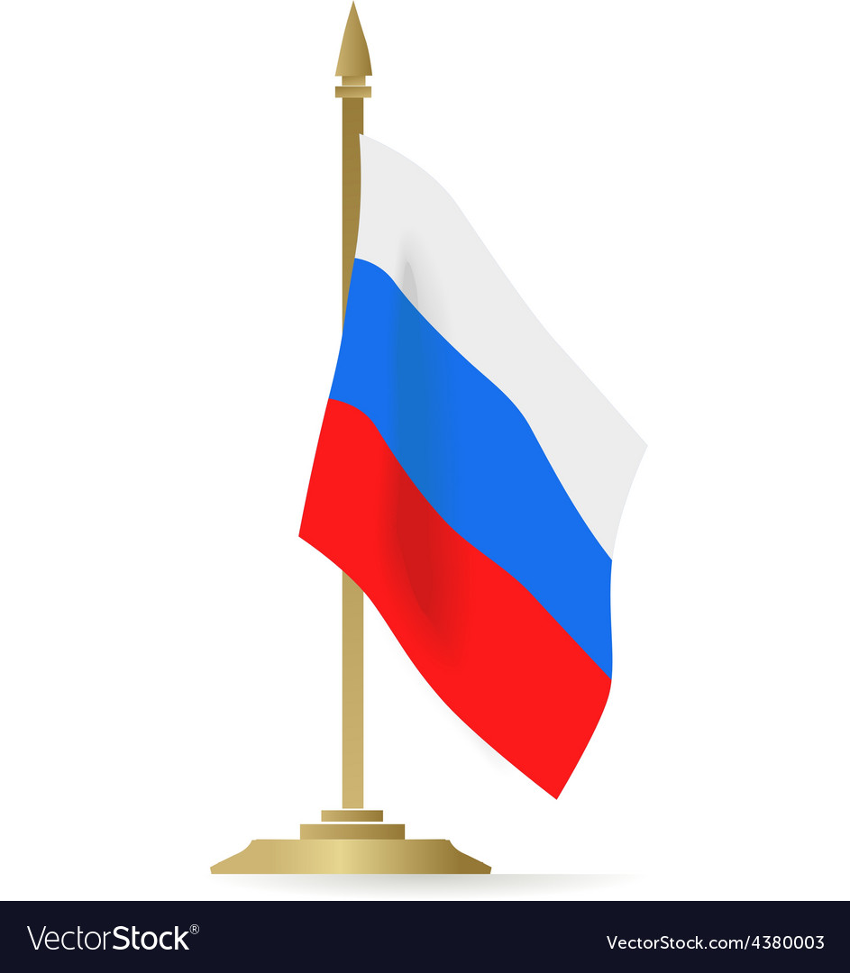 Russian flag stant on white space vector