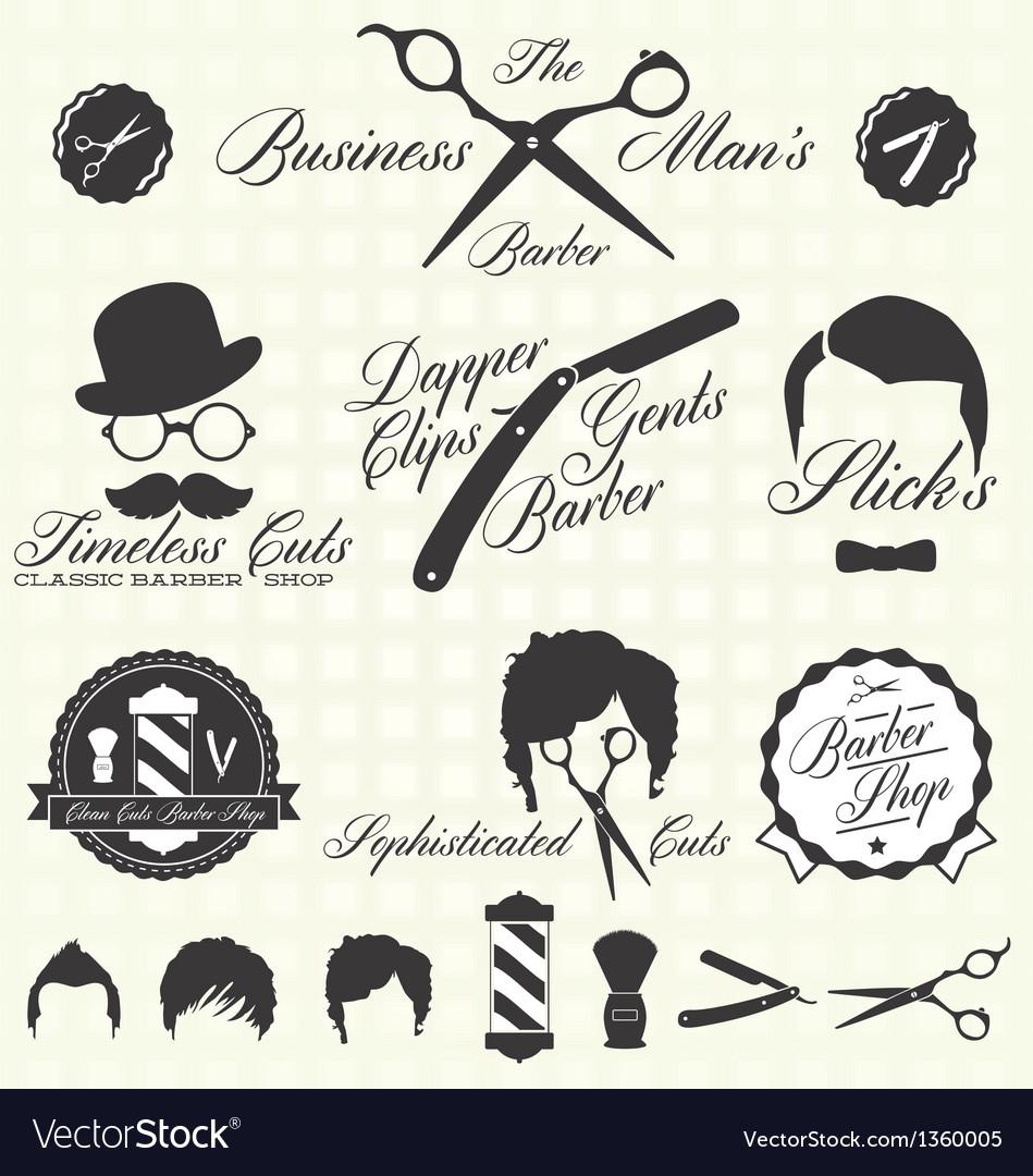 Vintage barber shop labels vector