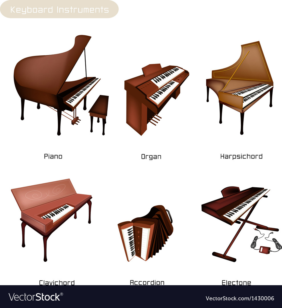 Six keyboard instrument vector