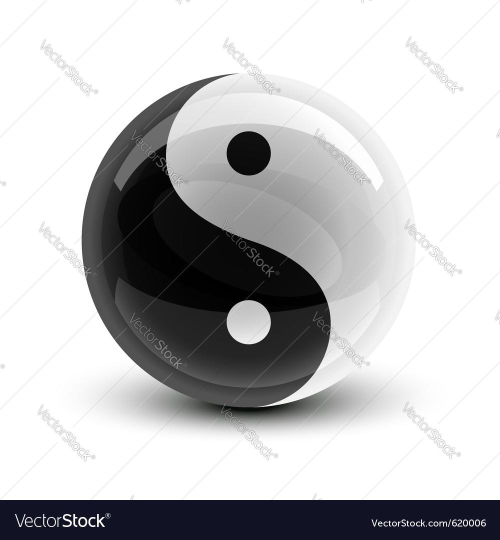 Yin and yang symbol on a glossy ball vector