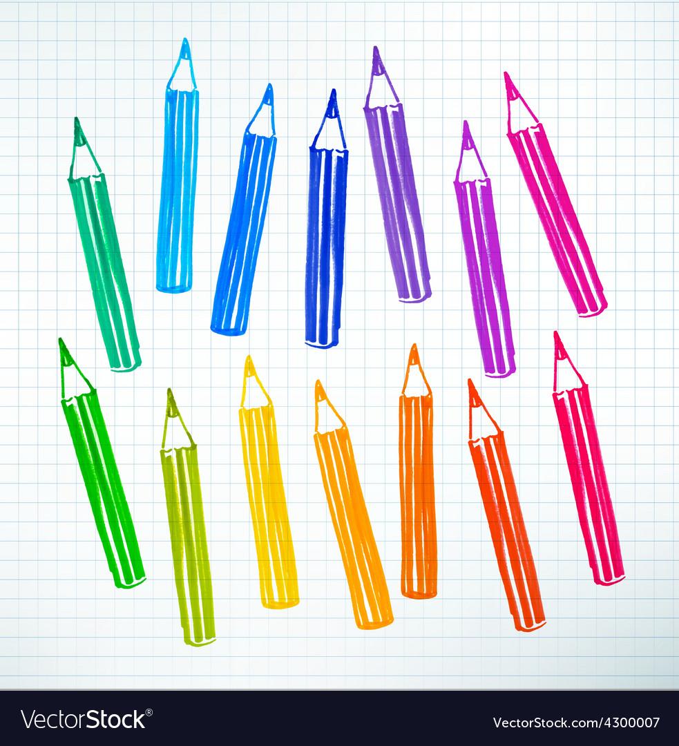 Felt pen drawing of pencils vector