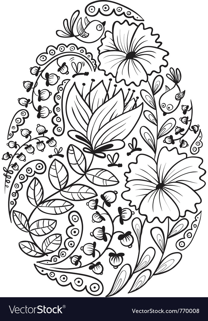 Cute doodle floral easter egg vector