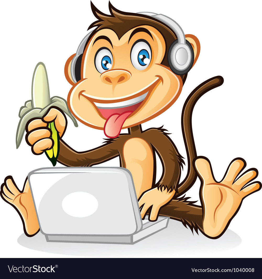Monkey laptop vector