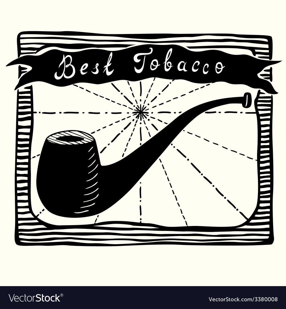 Tobacco pipe label vector