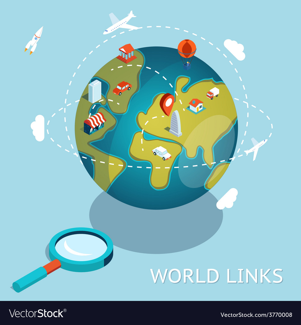 World links global communication via aircraft and vector