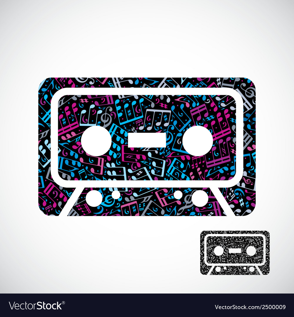 Decorative colorful cassette tape symbol filled vector