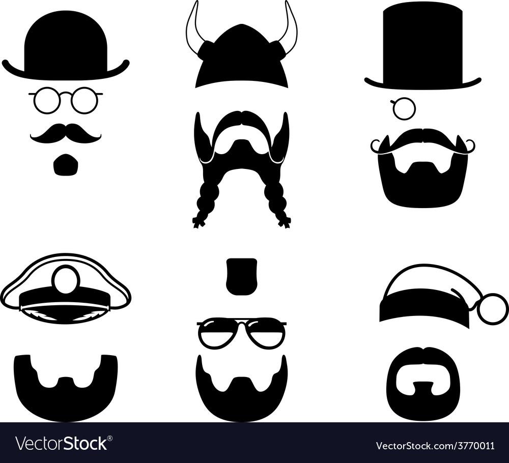 Silhouettes parts of face mustache beard hair vector