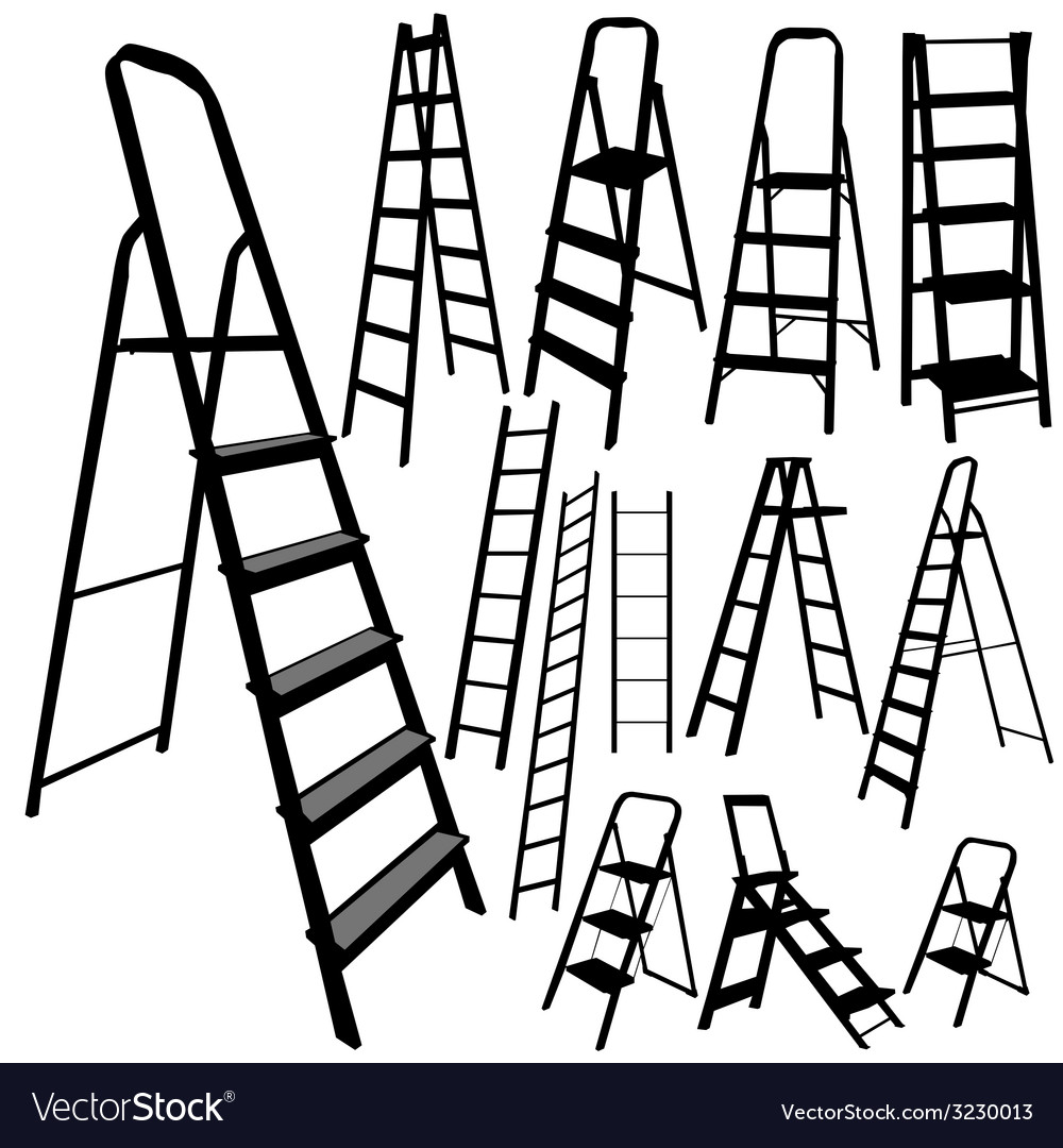 Ladder silhouette in black color vector