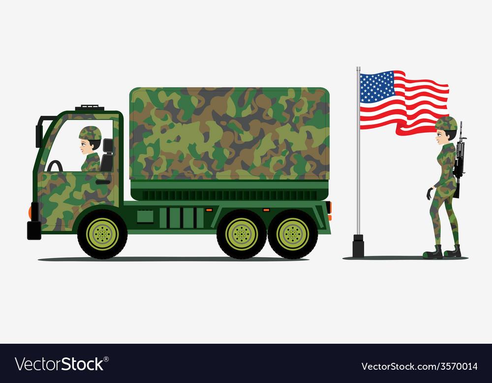 Military trucks vector