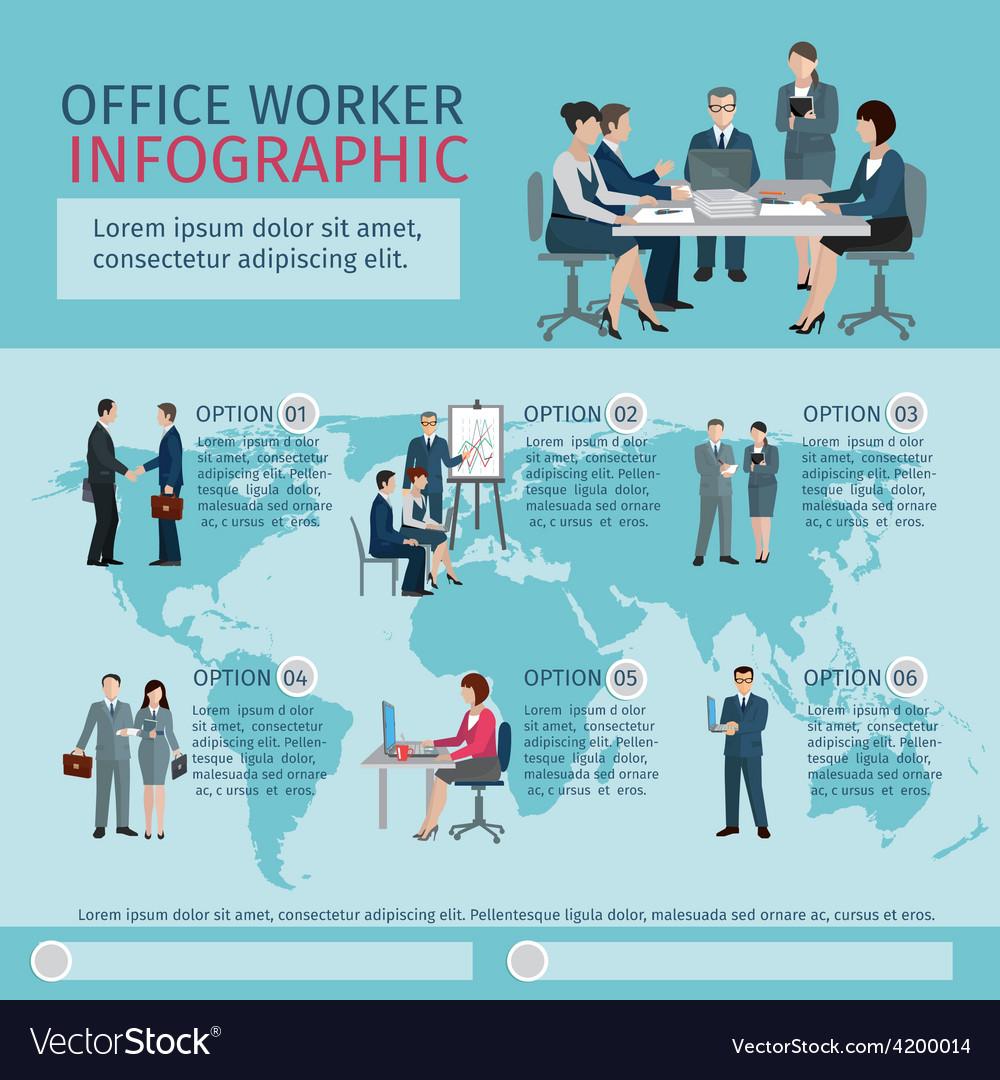 Office worker infographics vector