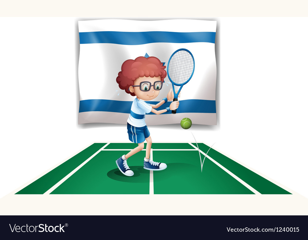 The flag of israel with a tennis player vector