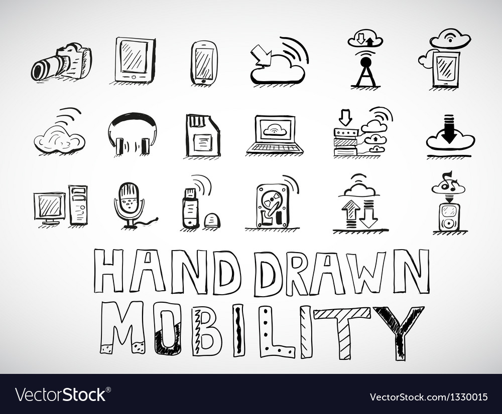 Hand drawn mobility icons doodles vector