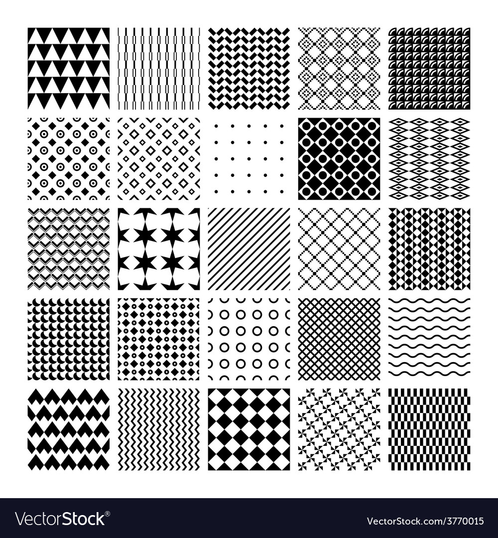 Monochrome seamless patterns vector