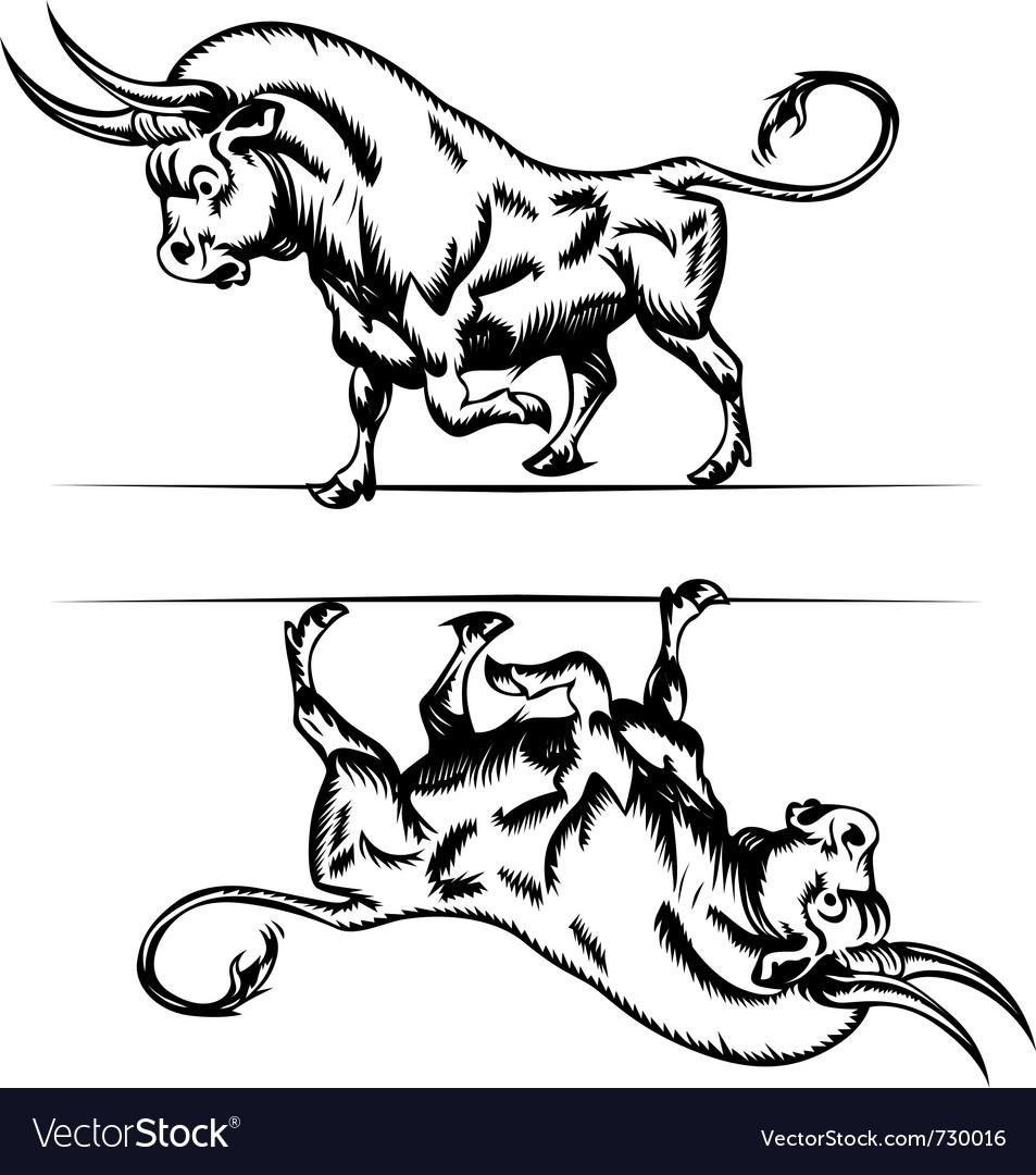 Bull cartoon in engraving style vector