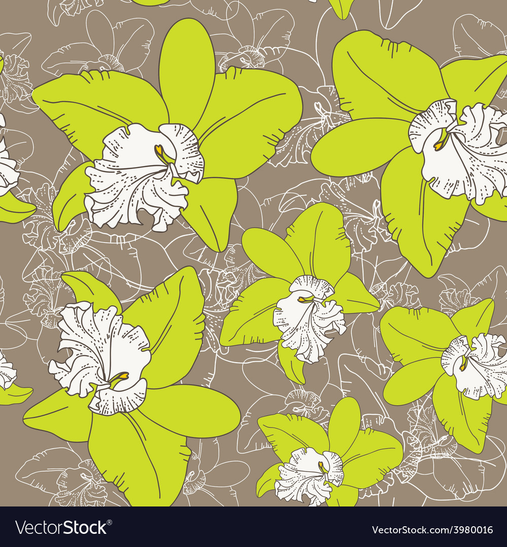Seamless floral pattern fantasy blooming green vector