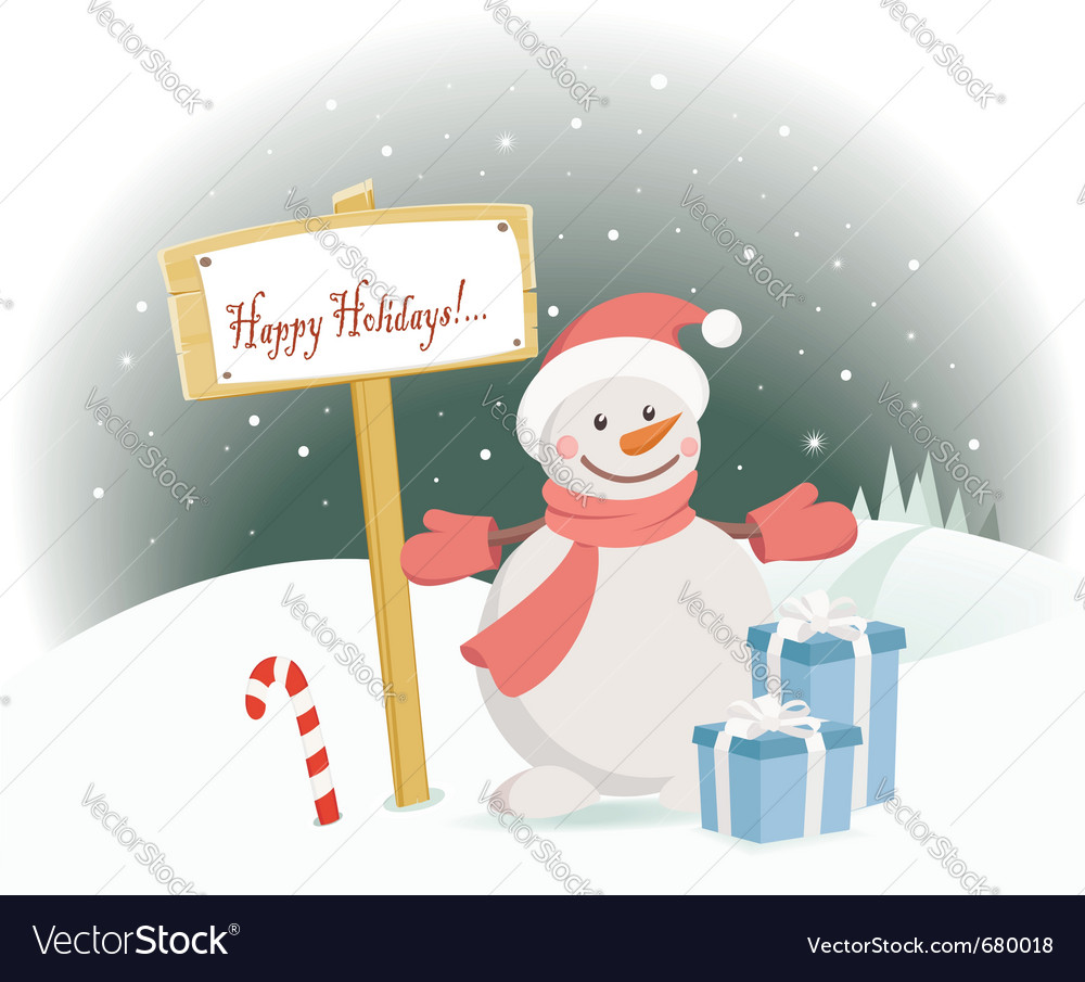 Snowman happy holidays vector
