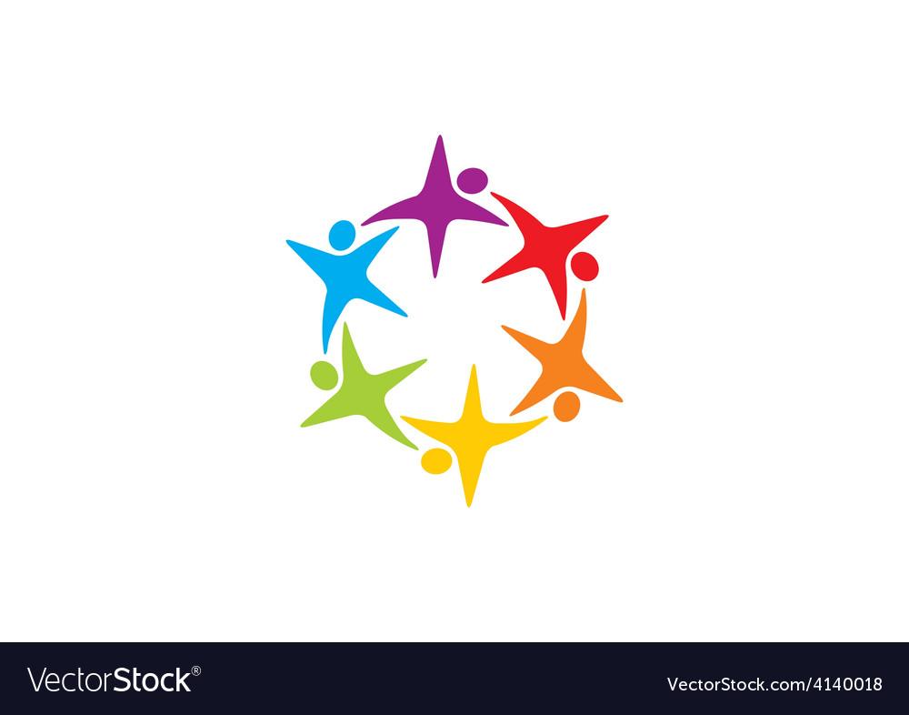 Star circular people teamwork logo vector