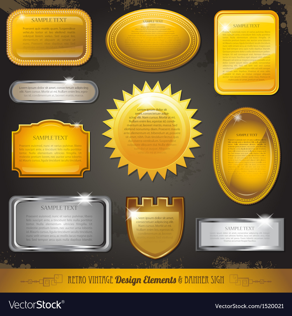 Golden luxury labels and banners collection set vector