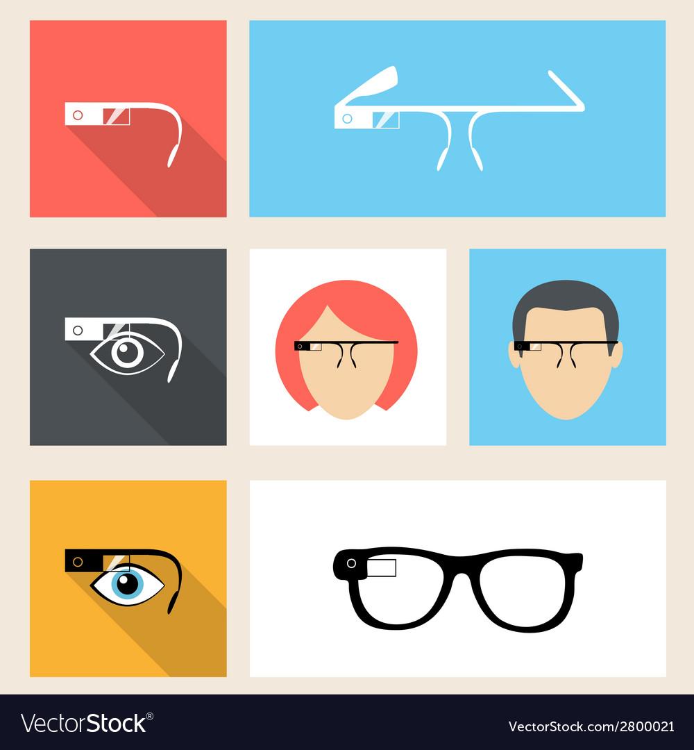 Google glasses icon set vector