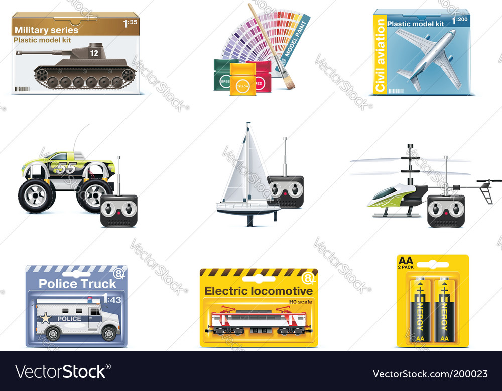 Toy icons teenager toys vector