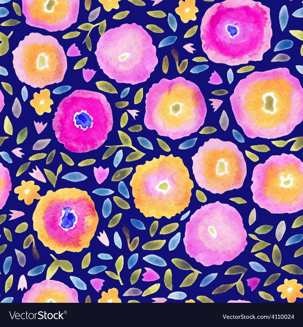 Hand paint watercolor floral seamless pattern vector