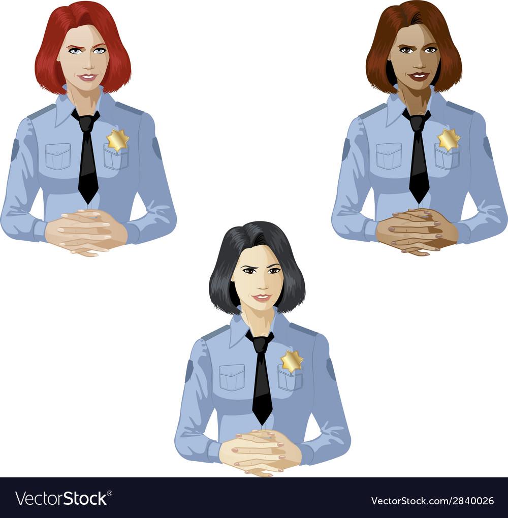 Woman in police uniform contact person vector
