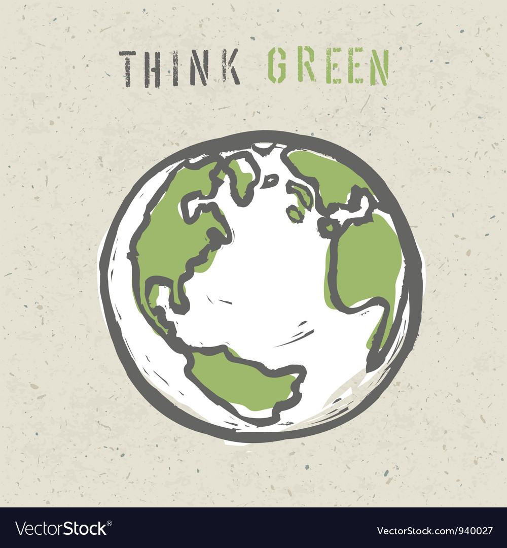 Think green poster design vector