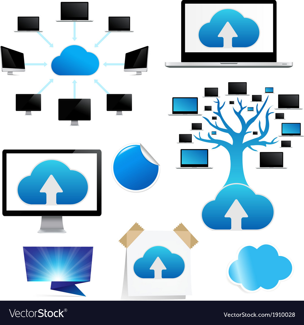 Set reminder with cloud computing icon vector