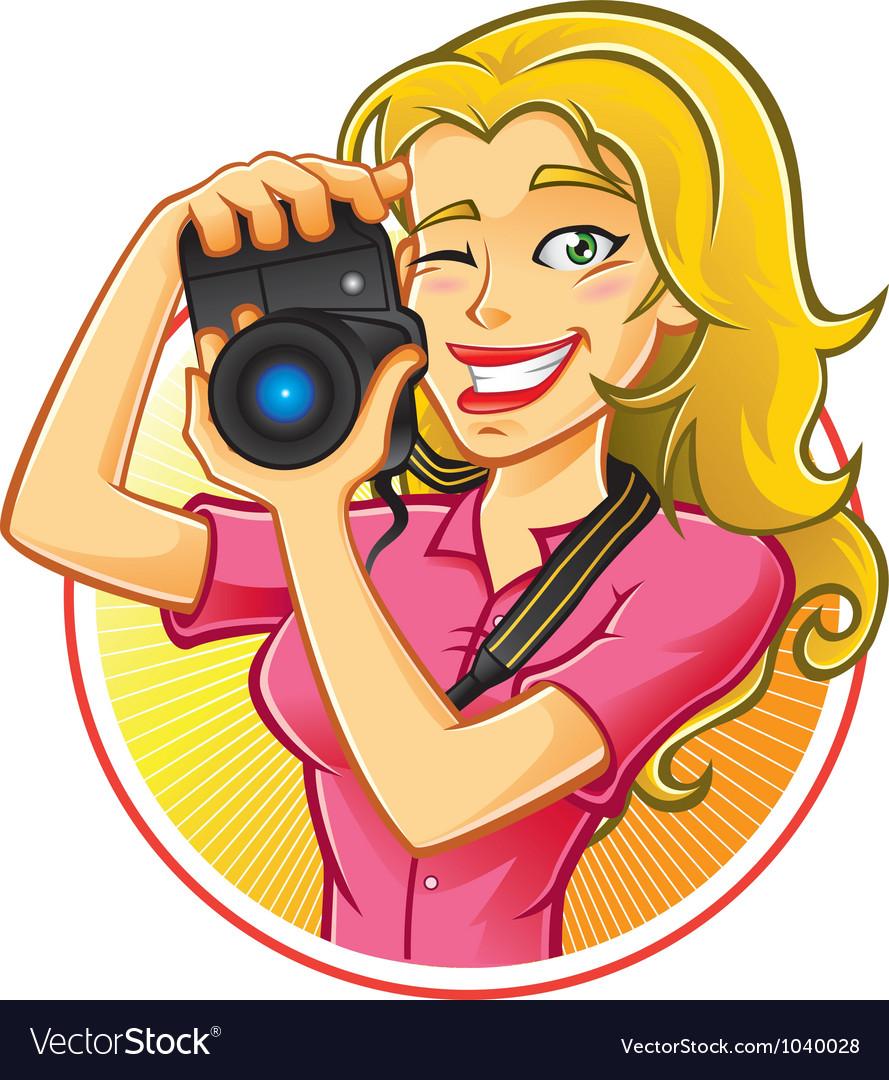 Woman photographer vector