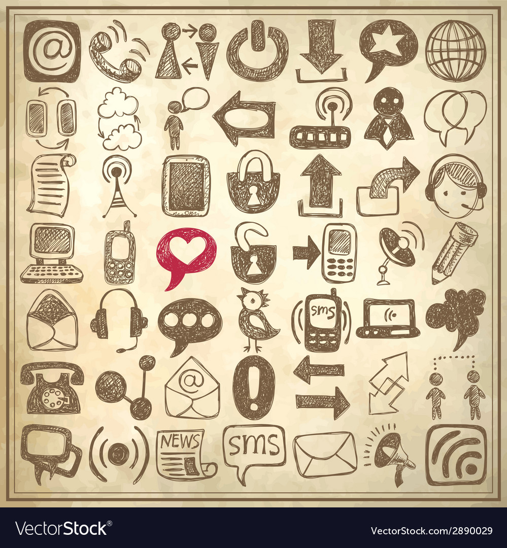 49 hand draw sketch communication element vector