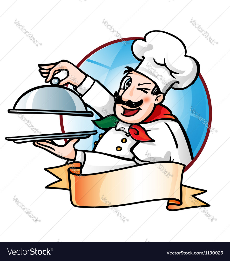 Chef presenting the dish vector