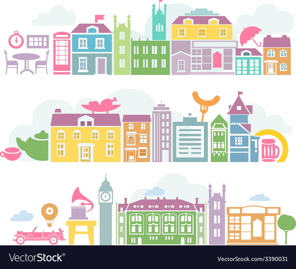 City london colorful silhouettes of buildings vector