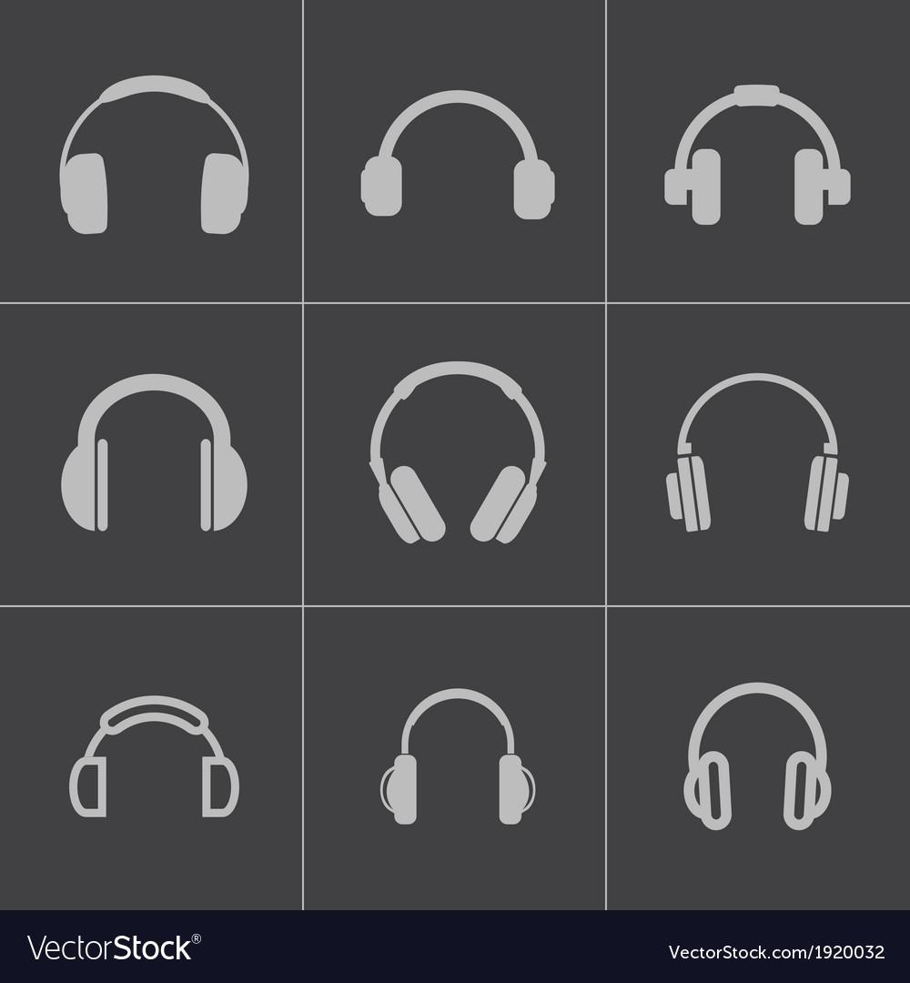 Black headphone icons set vector
