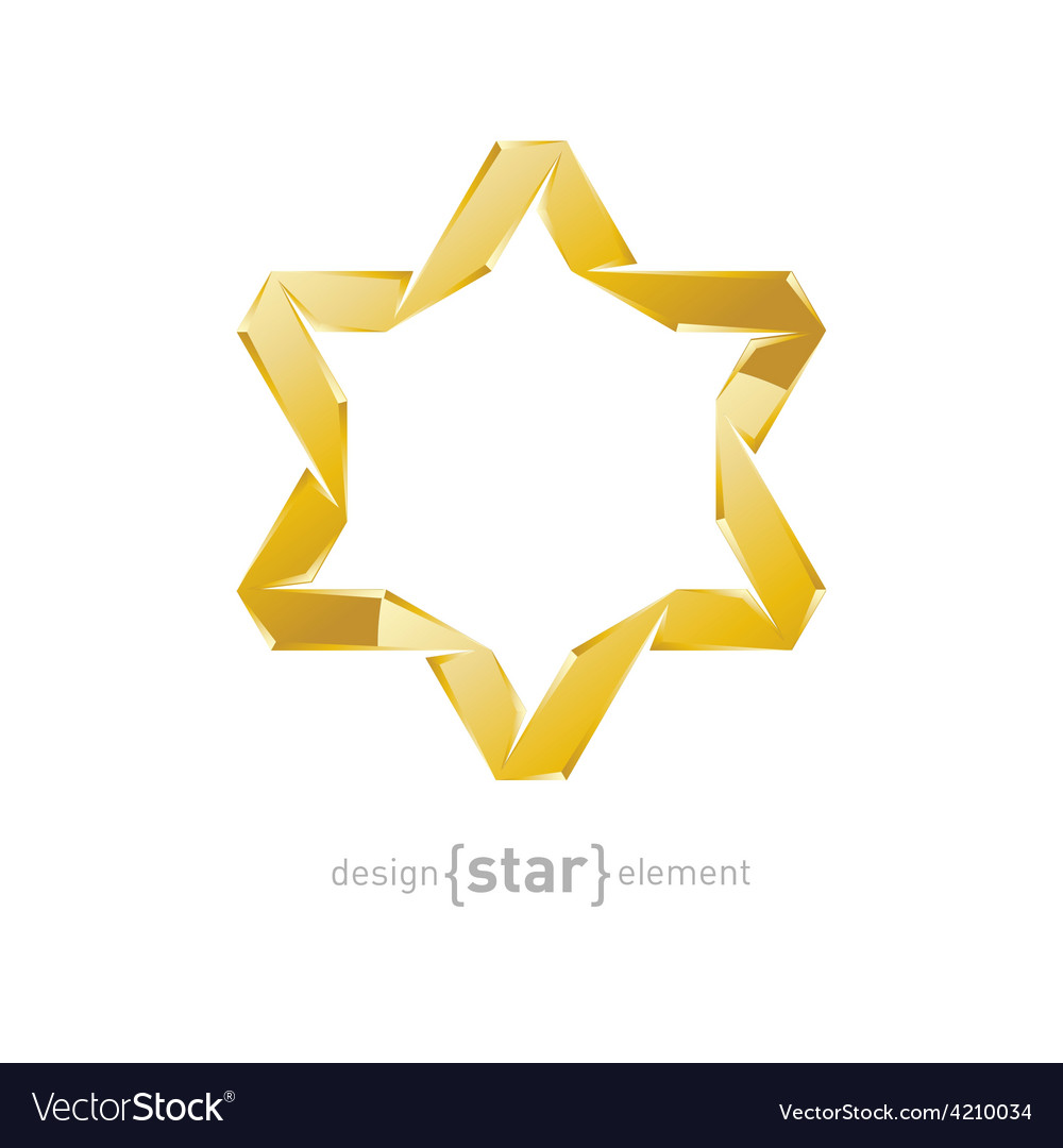 Golden star of david on white background vector