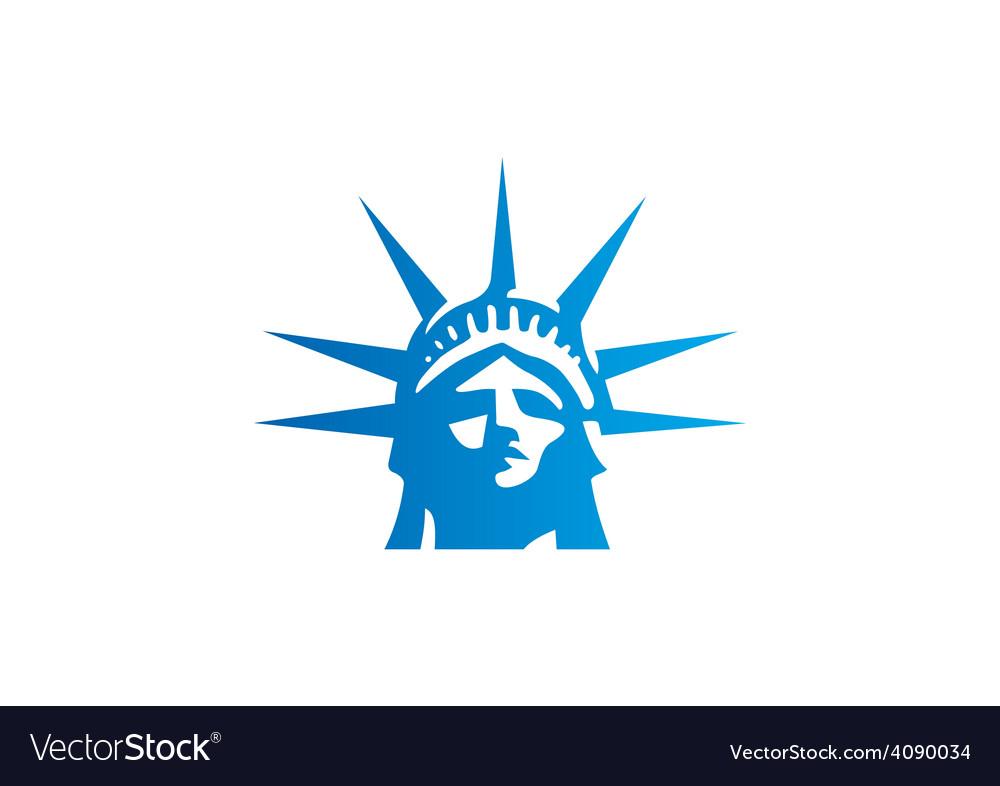 Liberty statue head freedom logo vector