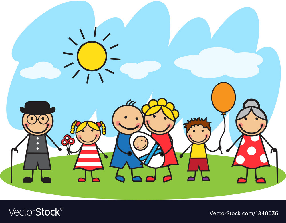 Cartoon big family standing on the lawn vector